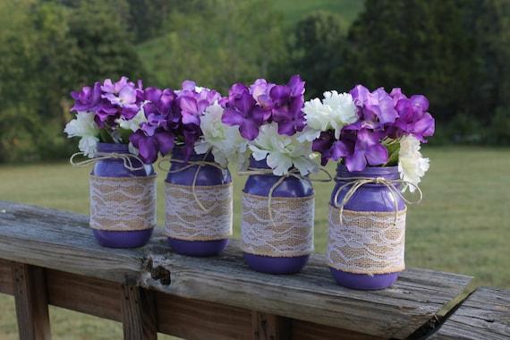 Purple country rustic wedding mason jar centerpieces