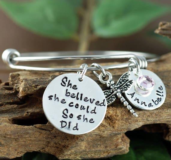 She Believed She Could So She Did, Bangle Bracelet, Graduation Gift, Inspirational Bangle Bracelet, Hand Stamped Bracelet, Gift for Graduate
