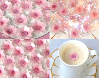 Edible Cherry Blossom Wedding Favours 3D Flowers x 100 Pastel Pink Japanese Wafer Rice Paper Individually Wrapped Personalised Sticker Label