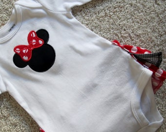Girl Mouse Red and Black Ruffle Butt One Piece Outfit