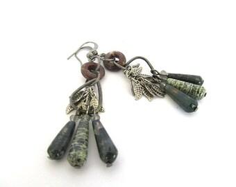 Green Jasper Bead Earrings, Rustic Gemstone Earrings, Unique Beaded Earrings, Gemstone Drops, Bohemian Earrings, Moonlilydesigns, Pewter