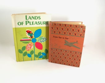 """Two vintage schoolbook readers - """"Lands of Pleasure"""" (1965) and """"From Sea to Sea"""" (1945) - midcentury illustrations, 1940s, 40s, 1960s, 60s"""