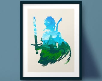 Zelda Breath of the Wild Link Silhouette Art Print