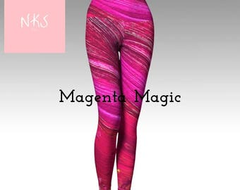 Unique bright pink Magenta Magic comfortable stretch wide band fun yoga leggings workout clothes.