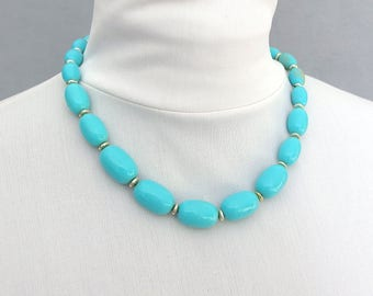 Vintage Aqua Graduated Oval Bead Necklace with Gold Spacers