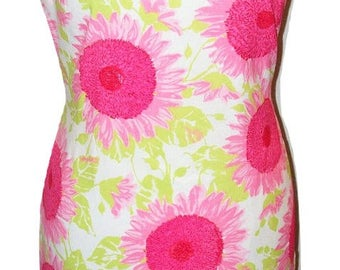 Vintage 1960s Pink Flower Sheath Dress Sz S