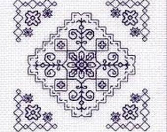 The Garden – Geometric Blackwork kit. Monochrome design using black thread. 14 count Aida fabric. Complete Kit, English Instructions. 10cm