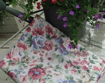 SALE Vintage Floral Print Home Dec Fabric (pinks, blues, greens, beige)  2+ yards
