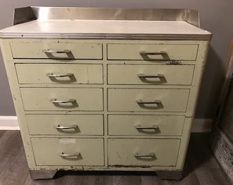 Vintage Industrial Steel Medical Cabinet, Metal Dental Cabinet, 10 Drawers