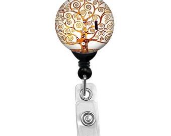 Klimt Tree Of Life Badge Reel Holder ID Card Name Retractable Nurse Pull Badge Holder