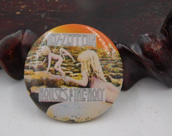 Vintage Rock and Roll Pin Pinback Button From Led Zeppelin Album Houses of the Holy Dr59