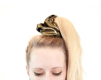 Gold Scrunchie, Metallic Scrunchie Pony Tail Holder, Pony Tail Wrap Scrunchie Hair Ties Scrunchies Gift for Her Cheerleader Gift Womens