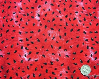 One Yard Cut Quilt Fabric, Red Juicy Watermelon & Watermelon Seeds from Timeless Treasures Fabric, Sewing-Quilting-Craft Supplies