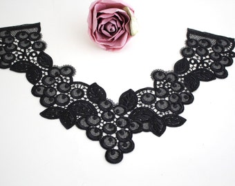 Swiss embroidery: Black Lace Appliques