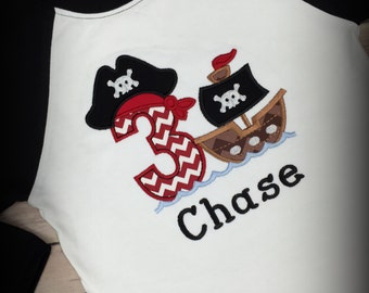 Pirate birthday shirt,- pirate birthday party,- pirate raglan shirt,- first birthday,- second birthday,- third birthday,- fourth birthday