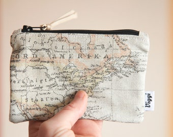 travel wallet / men wallet / world map coin purse / minimalist small pouch / vegan