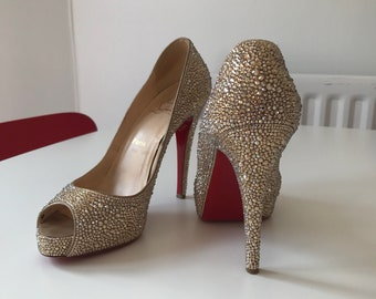 GENUINE Refurbished Gold Louboutin Swarovski UK 5.5/38.5 Beautiful Hand Strassed, Have amazing Wedding Shoes! strass Louboutin, Red Soles!