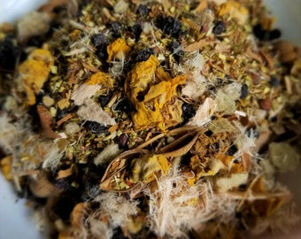 The Mummy - Wrapped up, Horror Movie Theme tea, Lung Tea, Anti-Aging Herbs, Mullein Flower, Slippery Elm, Elderberry,  Ginkgo, Elderberry