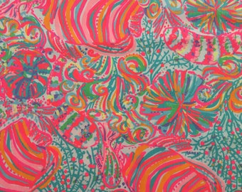 "multi swish fish dobby cotton fabric square 18""x18"" ~ lilly summer 2017 ~ lilly pulitzer"