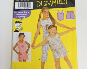 Simplicity 9607 Pattern, Girls Sleeveless Top Pants Skort Shorts, Child Size 3 4 5 6, Sewing 4 Dummies Summer Clothing Uncut itsyourcountry