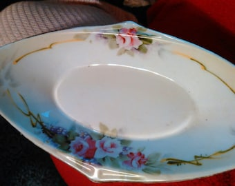 Antique Nippon Bowl Dish, Pink Roses Hand Painted