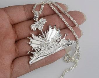 Haiti Haitian Map Necklace, silver color