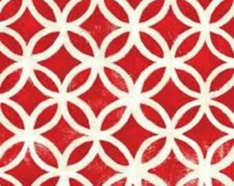 P&B Textiles - Hello Dahlia Worn Geometric on Red by the Yard