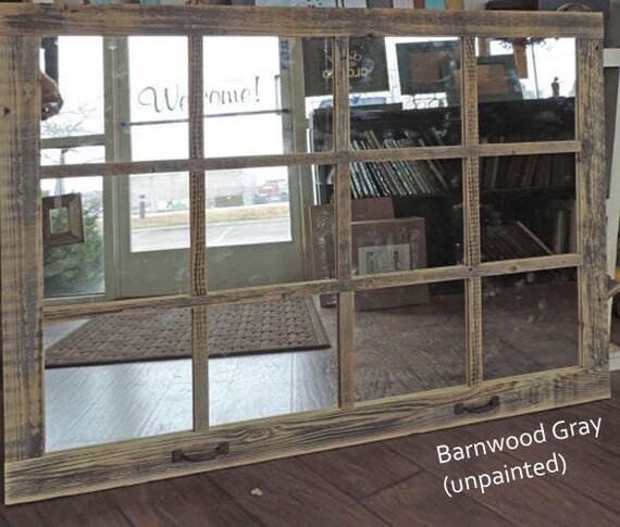Farmhouse Large Window Pane Mirror -- 46  X 36  Painted Barn wood Homesteader Style & Farmhouse Large Window Pane Mirror 46 X 36