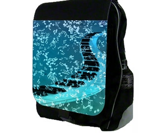Blue Piano And Music Notes - Large Black School Backpack