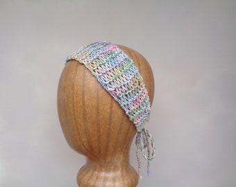 String Headband, Tie Back, Multicolor Green, Women Teen Girls Trendy Fashion, Hand Knit Cotton Silk, Bandana  Hair Tie, Boho Beach