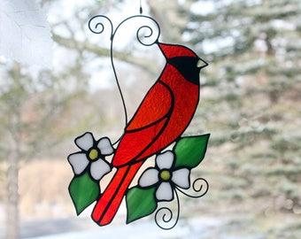 Stained Glass Cardinal Suncatcher Glass Art, Wildlife Art, Bird Lovers Gift