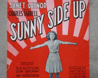 Antique sheet music - 1929 - Sunny Side Up - Janet Gaynor and Charles Farrell