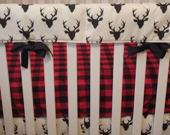 Black/Red Buffalo Plaid Crib Sheet