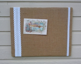 Country Chic Burlap and Lace Wedding Bulletin Board, Photo Memory Board, Dorm Decor, French Memo Board