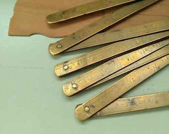 Riveted brass posts & telegraphs French vintage folding ruler