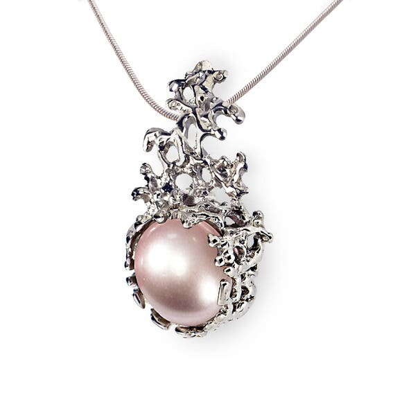 Coral pink pearl pendant necklace 14k white gold pink pearl aloadofball Choice Image
