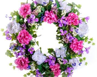 Pink & White Peony Wreath (SW719)