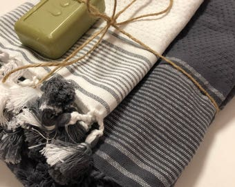 "Turkish luxury hand/bath towel gift set ( 35""x20"")and( 71'' * 39'')"