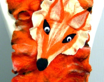 Hand Felted Wool  felted  scarf-FOX-