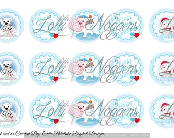 Christmas / Holiday / Winter  1 inch Digital Bottle Cap file