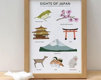 Sights of Japan print - illustrated Japan poster - Japan wall art - travel art - Japan home gift