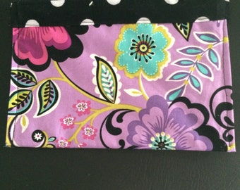 Purple and Black Cosmetic Bag