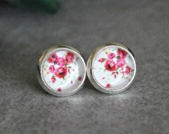 Pink Stud Earrings, Pink Floral Earrings, Pink Flower Earrings, Bright Pink Earrings, Pink Post Earrings, White Stud Earrings, 8MM Studs