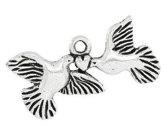 Charm pendants bird 25x12mm heart
