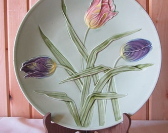 Vintage Majolica 3 tulips service plate