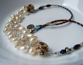 pearl wrapped necklace sterling silver