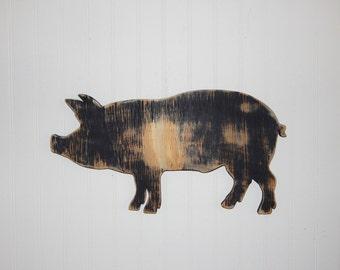 Pig Sign Wall Decor Farmhouse Country Decor Wooden Pig Kitchen Decor