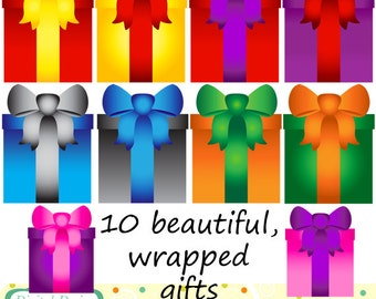 Presents and gifts clip art set, 10 designs. INSTANT DOWNLOAD for Personal and commercial use.