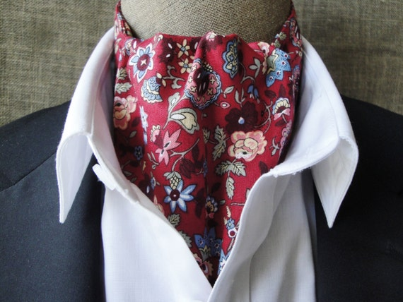 Cravat, floral design on a burgundy background.  One size fits all.