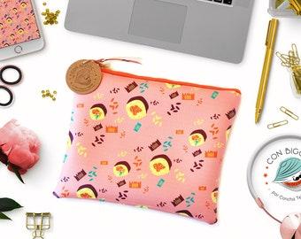 Sushi print clutch. Sushi pattern handbag. Printed vegan leather cosmetic bag.  Maki-roll clutch. Printed vegan leather handbag. Pink clutch